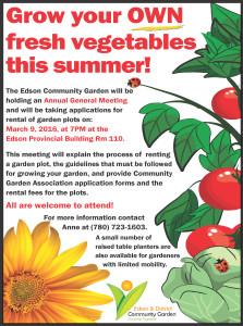 Edson Community Garden Annual General Meeting Edson and