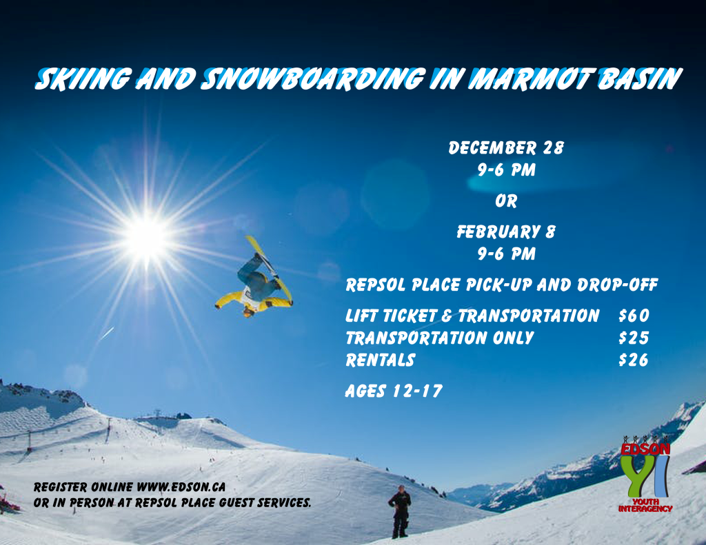 Skiing and Snowboarding in Marmot Basin Event Poster