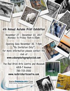 4th Annual Autumn Print Exhibit - Edson Photography Club @ Red Brick Arts Center | Edson | Alberta | Canada