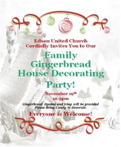 Family Gingerbread House Decorating Party! @ Edson United Church | Edson | Alberta | Canada