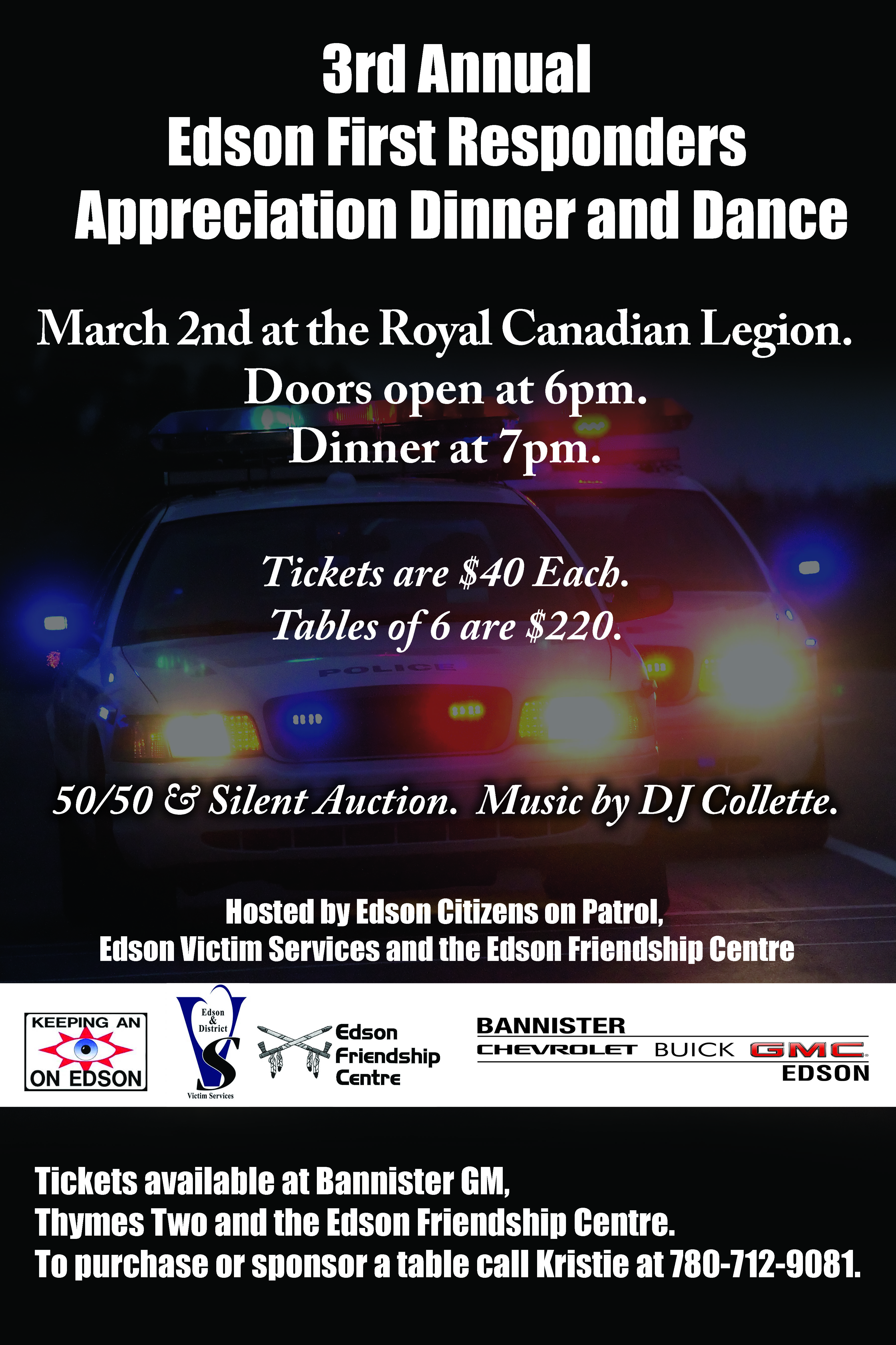 3rd Annual Edson First Responders Appreciation Dinner and Dance @ Royal Canadian Legion