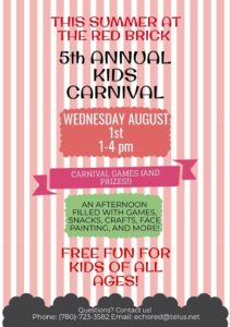 5th Annual Kids Carnival @ Red Brick Arts Centre and Museum | Edson | Alberta | Canada