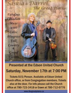Fundraiser Concert with Saskia and Darrel for Edson United Church @ Edson United Church  | Edson | Alberta | Canada