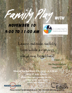 Family Play with Elements Forest School @ FCSS/ParentLink Centre (Outside) | Edson | Alberta | Canada