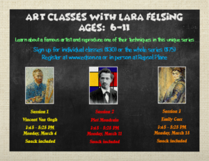 Art Classes with Lara Felsing Ages 6 - 11  Series of 3 @ Red Brick Arts Centre