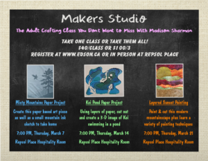 Maker's Studio Misty Mountain Paper Project with Maddy Sharman @ Repsol Place Hospitality Room