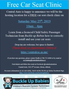 Free Car Seat Clinic @ Central Auto Edson