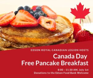 Canada Day Pancake Breakfast @ Edson Royal Canadian Legion