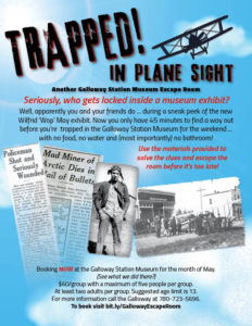 Wop May Escape Room 'Trapped in Plane Sight' @ Galloway Station Museum & Travel Centre