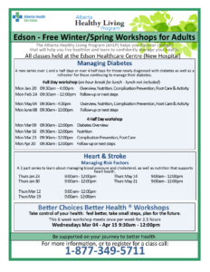 Free Alberta Healthy Living Health Education sessions @ Edson Healthcare Centre