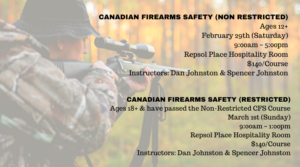(Non-Restricted) Canadian Fire Arms Safety @ Repsol Place Hospitality Room