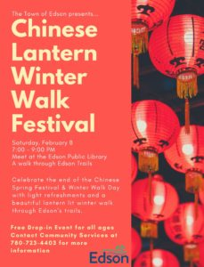 Chinese Lantern Winter Walk Festival @ Edson & District Public Library and trails