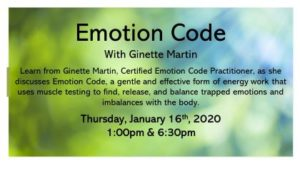 Emotion Code with Ginette Martin @ Edson & District Public Library