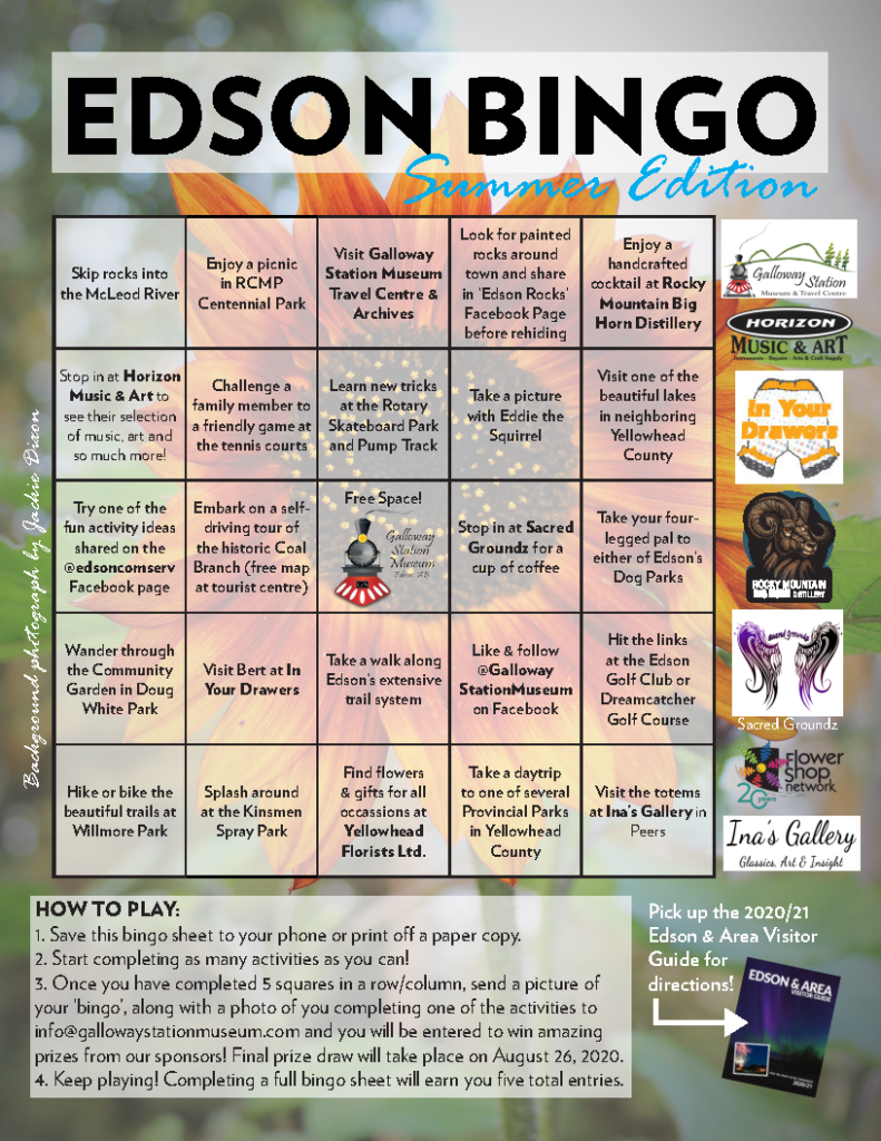 Edson Summer Activity Bingo