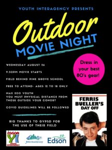 Youth Interagency Outdoor Movie Night Ferris Bueller's Day off @ Ecole Pine Grove School (Field to South)
